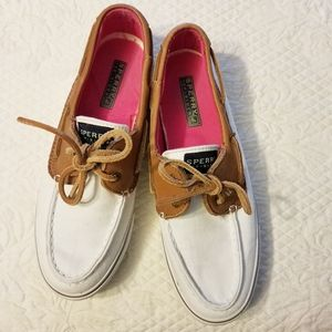 Sperry Topsiders White with Leather sz 7.5